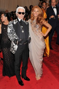 Blake Lively with Karl Lagerfeld