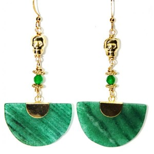 Mayan Skull Green Moon Earrings