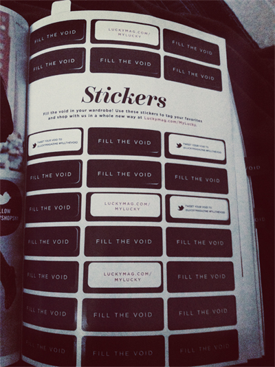 Lucky Mag October Issue Stickers